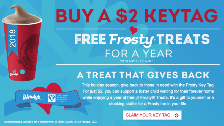 Wendy's Frosty Key Tag Just $2 = FREE